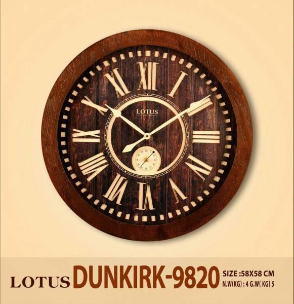 ساعت دیواری چوبی لوتوس با صفحه برجسته چوبی مدل Dunkirk-9820
