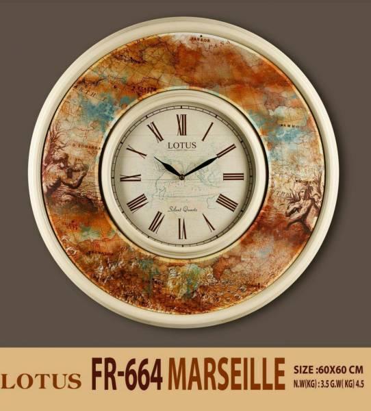 ساعت دیواری چوبی لوتوس طرح کره زمین مدل FR-664-MARCEILLE