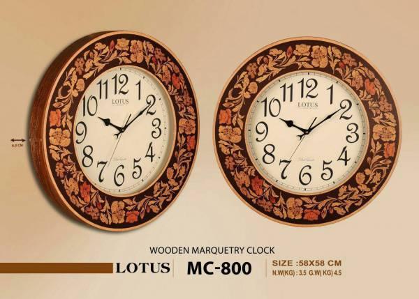 ساعت لوتوس گرد چوبی معرق MC-800