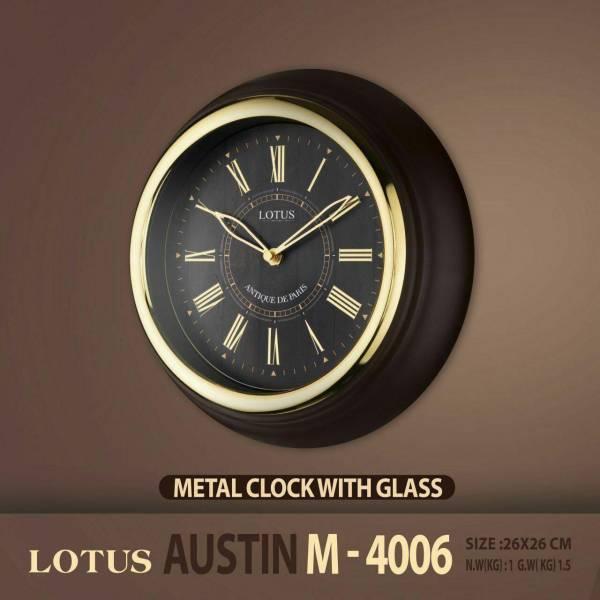 ساعت دیواری دور فلزی لوتوس مدل AUSTIN M4006