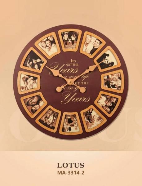 ساعت دیواری چوبی مدل آمریکایی قاب دار قهوه ای