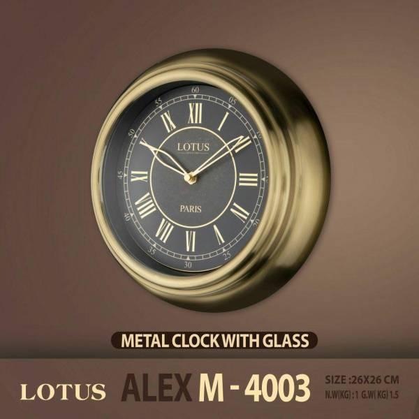 ساعت دیواری دور فلزی لوتوس دو موتوره مدل ALEX M-4003