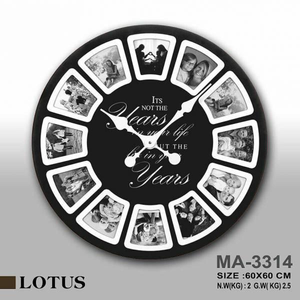 ساعت دیواری چوبی مدل آمریکایی قاب دار مشکی مدل MA-3314